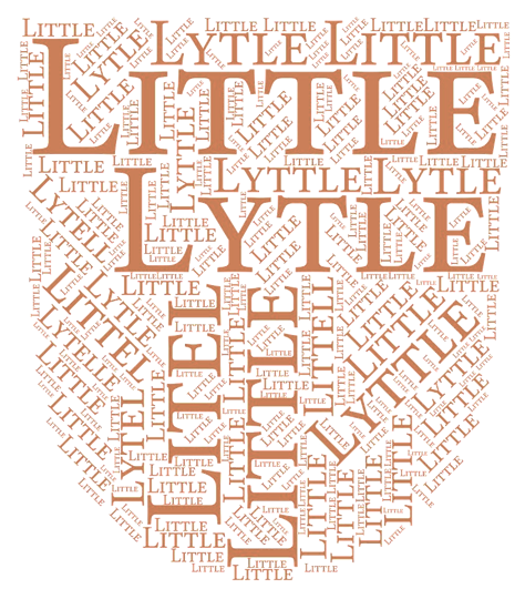 hearaldry style shield with all of the various versions of Little in very large to very small text filling in the whole shield